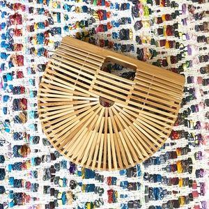 Handbags - Bamboo/Wood Half Moon Purse
